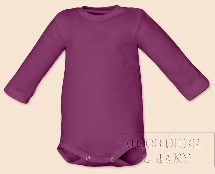 Kojenecké body s dlouhým rukávem fialovo-růžové