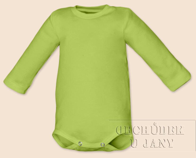 Kojenecké body s dlouhým rukávem zelené hráškové