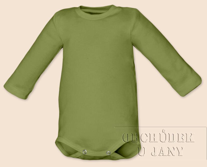 Kojenecké body s dlouhým rukávem zelené olivové