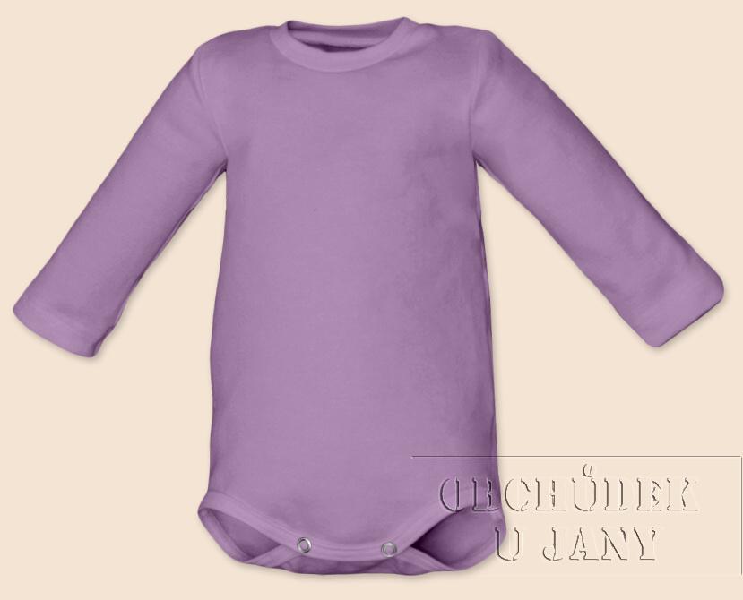 Kojenecké body s dlouhým rukávem fialové šeříkové