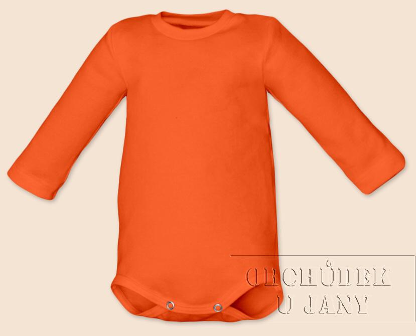 Kojenecké body s dlouhým rukávem oranžové tmavé