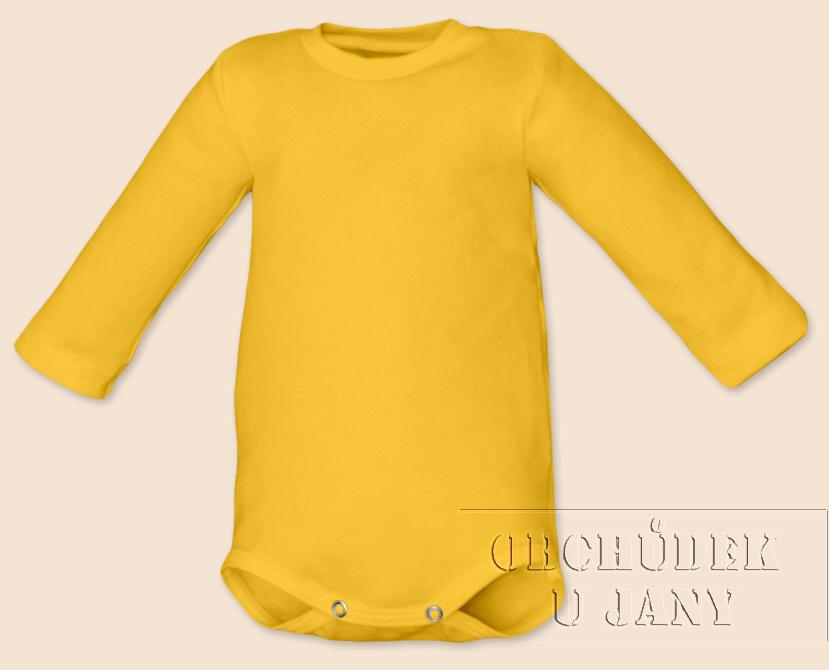 Kojenecké body s dlouhým rukávem žluté
