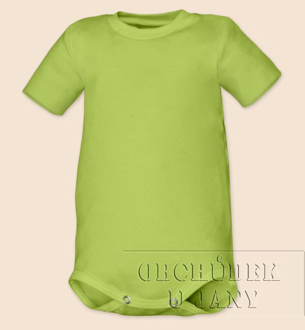 Kojenecké body s krátkým rukáv zelené hráškové