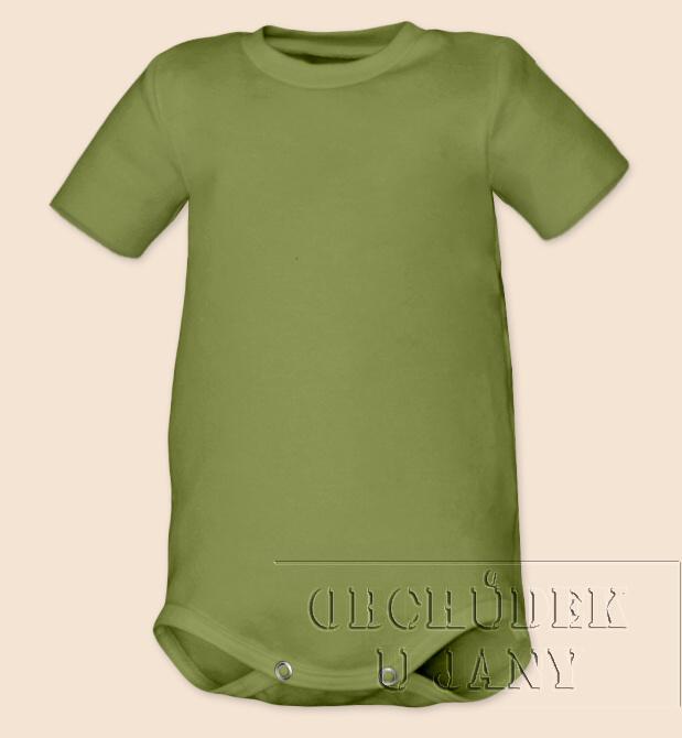 Kojenecké body s krátkým rukáv zelené olivové
