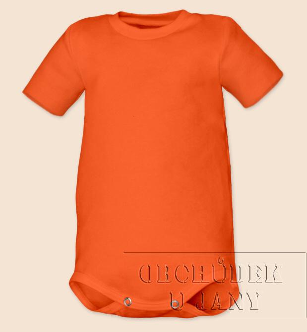 Kojenecké body s krátkým rukáv oranžové tmavé