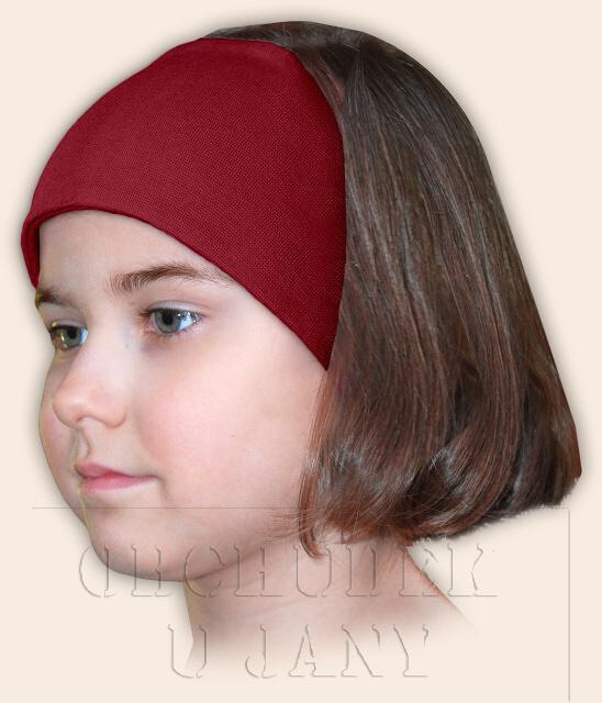 Dívčí čelenka úpletová bordó