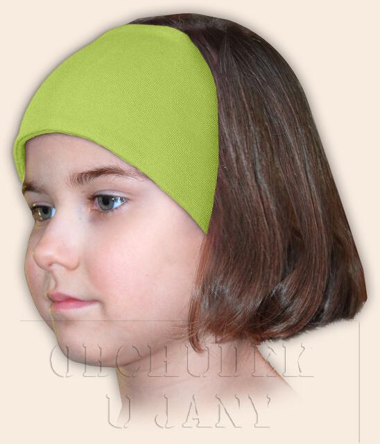 Dívčí čelenka úpletová zelená hrášková