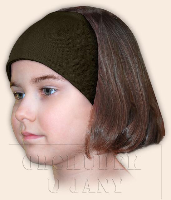 Dívčí čelenka úpletová khaki