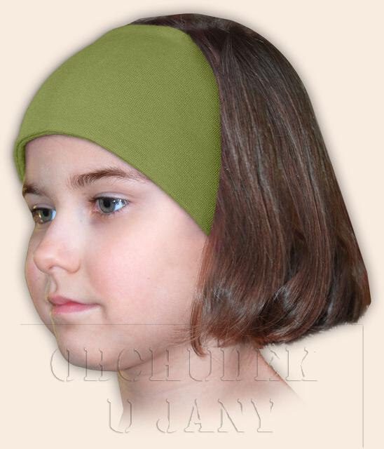 Dívčí čelenka úpletová zelená olivová