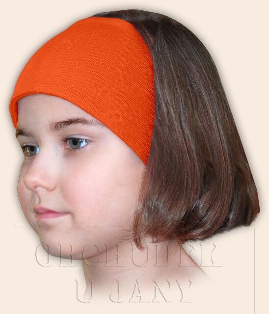 Dívčí čelenka úpletová oranžová tmavá