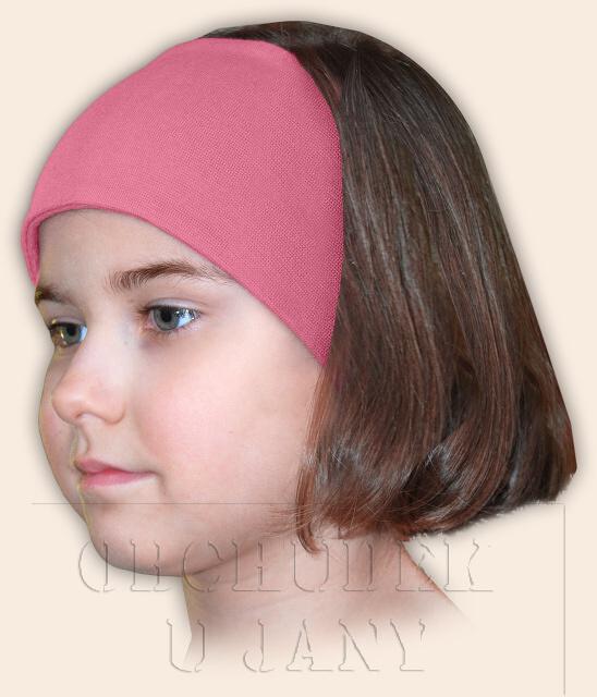 Dívčí čelenka úpletová růžová