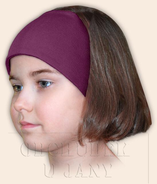 Dívčí čelenka úpletová fialovo-růžová