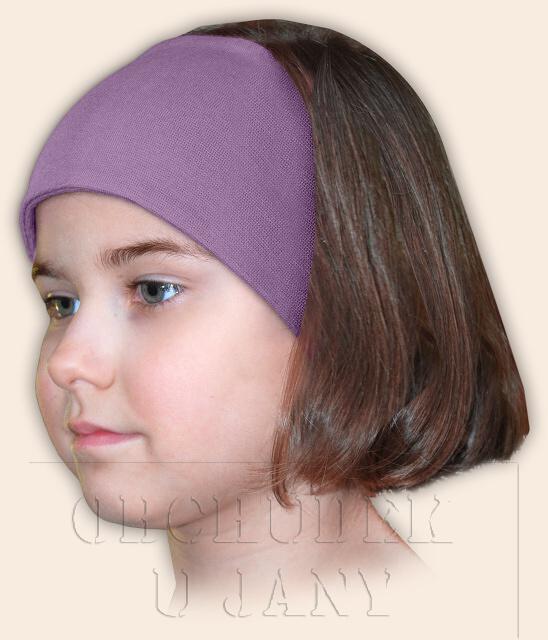 Dívčí čelenka úpletová fialová šeříková
