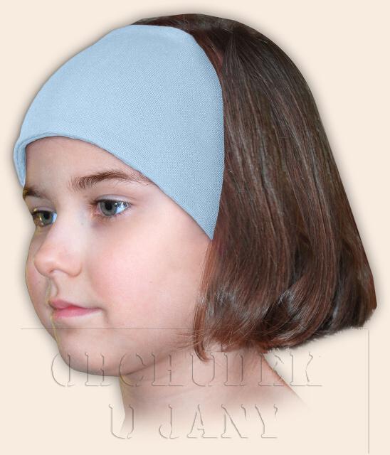 Dívčí čelenka úpletová modrá světlá