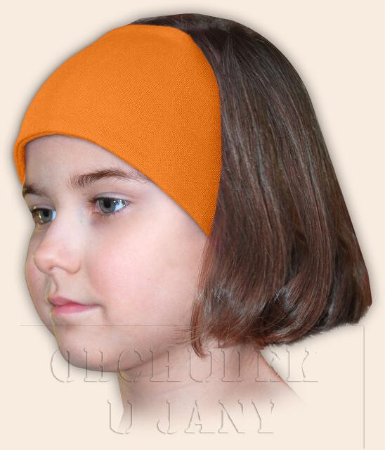Dívčí čelenka úpletová oranžová světlá