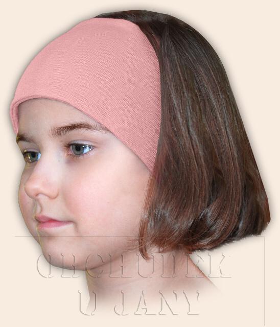 Dívčí čelenka úpletová růžová světlá