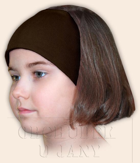 Dívčí čelenka úpletová hnědá
