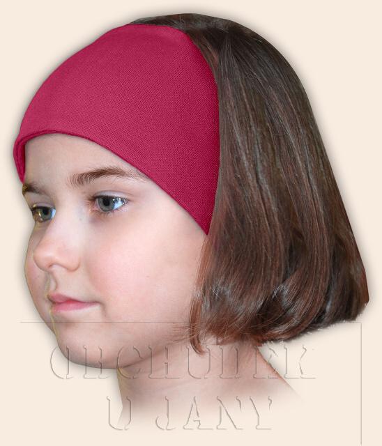 Dívčí čelenka úpletová růžová tmavá