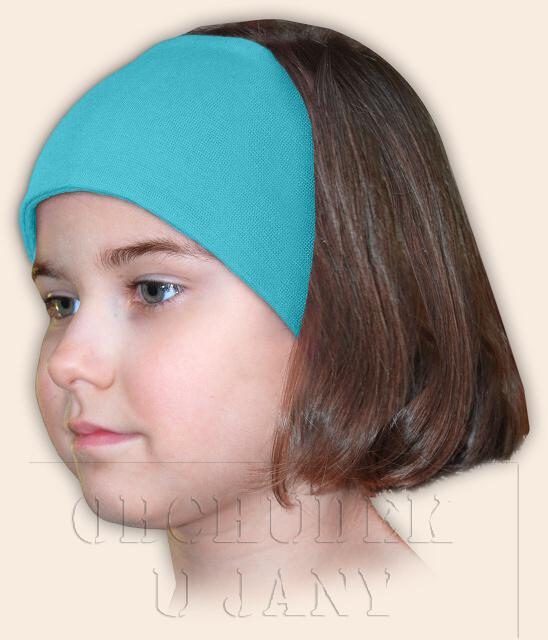 Dívčí čelenka úpletová modrá tyrkysová