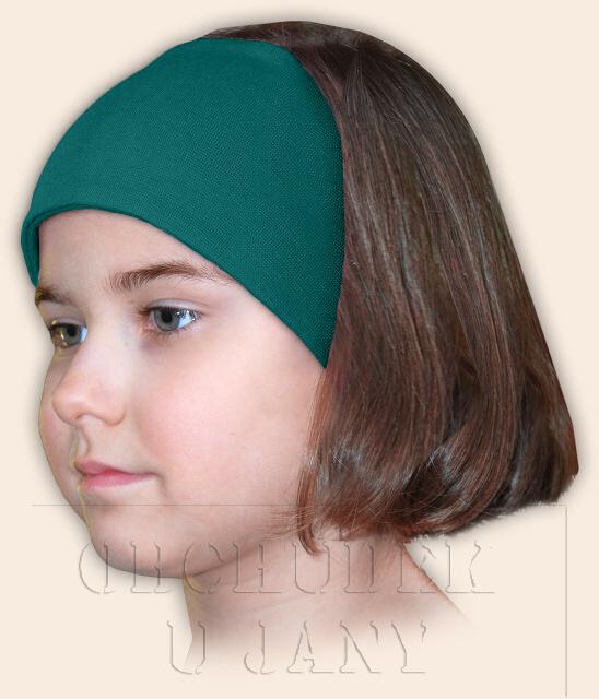 Dívčí čelenka úpletová zelenomodrá