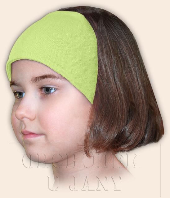 Dívčí čelenka úpletová zelenkavá