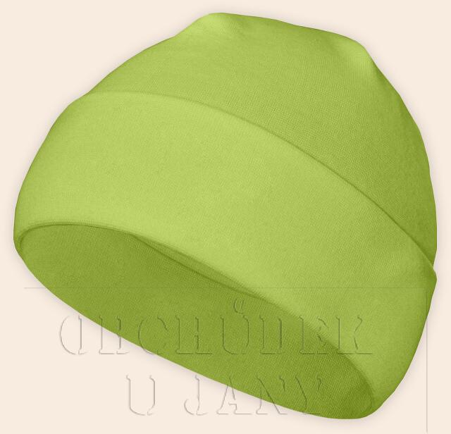 Čepice jarní - podzimní zelená hrášková