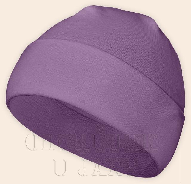 Čepice jarní - podzimní fialová šeříková