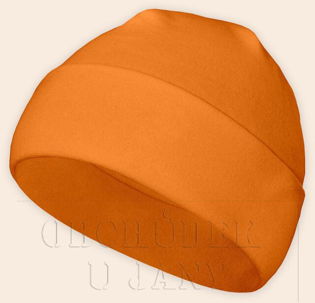 Čepice jarní - podzimní oranžová světlá
