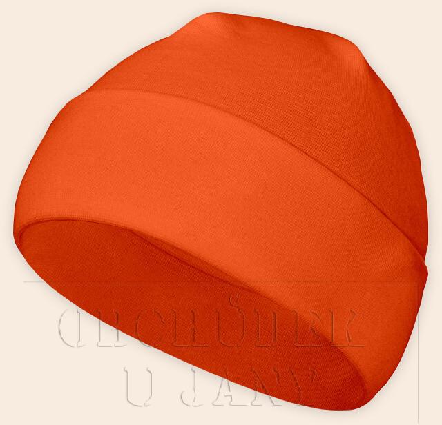 Čepice jarní - podzimní oranžová tmavá