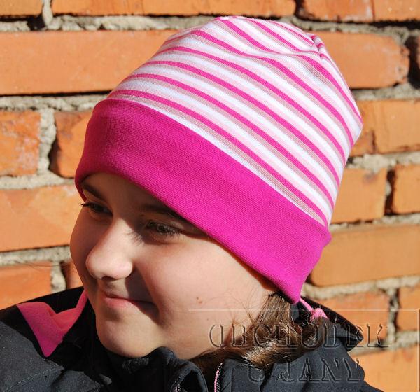 Čepice ohrnovací růžový lem