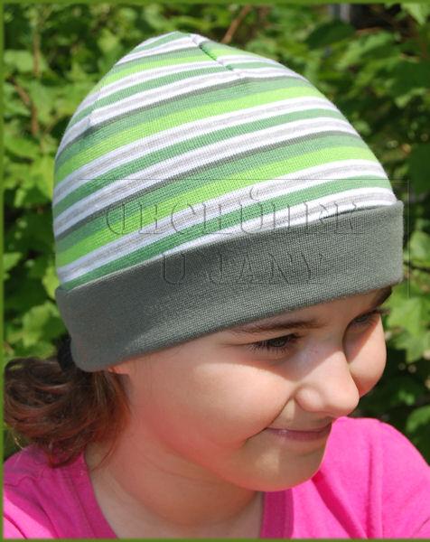 Čepice ohrnovací zelený pruh khaki lem