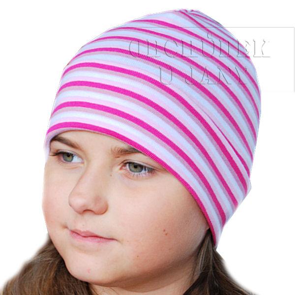 Čepice ohrnovací růžový pruh
