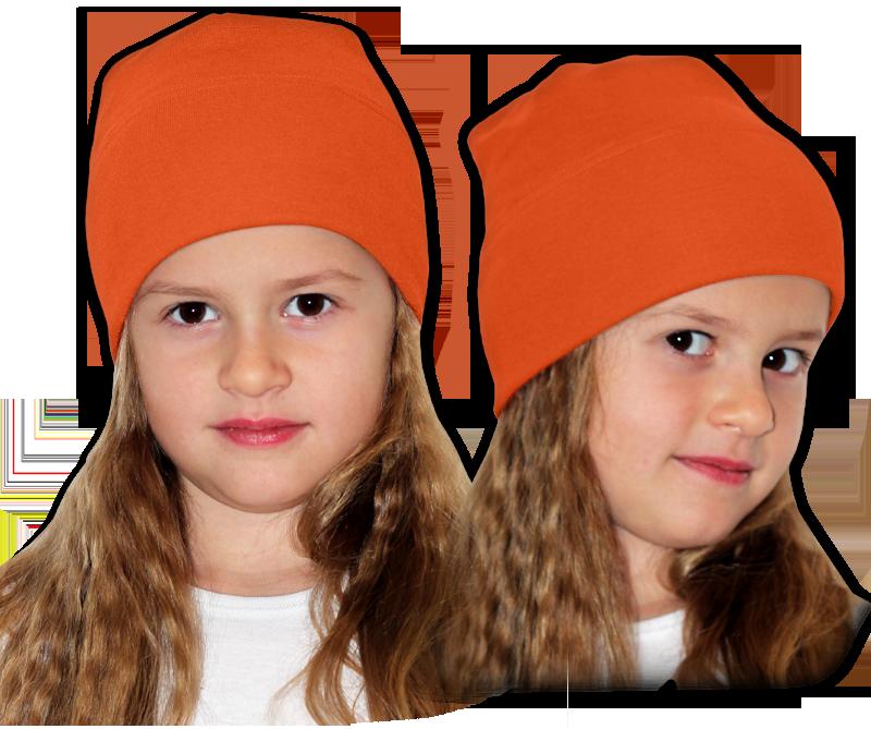 Čepice oranžová tmavá