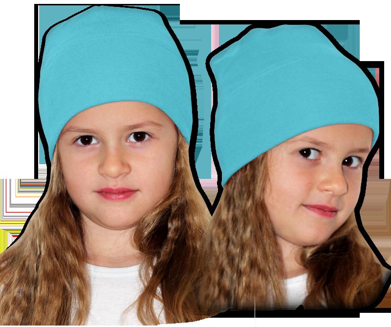 Čepice modrá tyrkysová