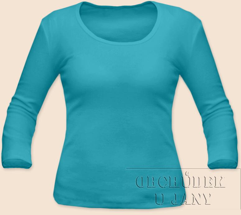 Dámské tričko 3/4 rukáv modré tyrkysové