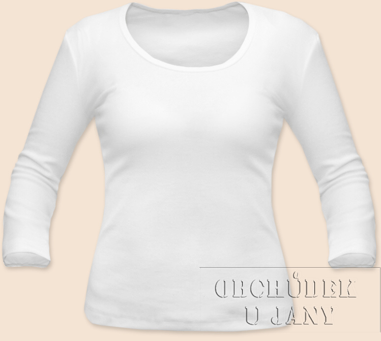 Dámské tričko 3/4 rukáv bílé