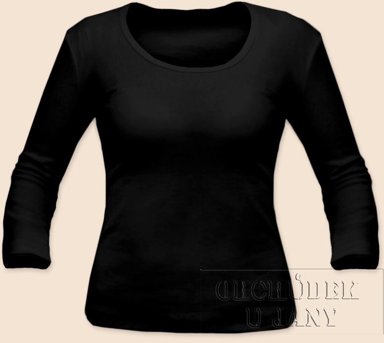 Dámské tričko 3/4 rukáv černé