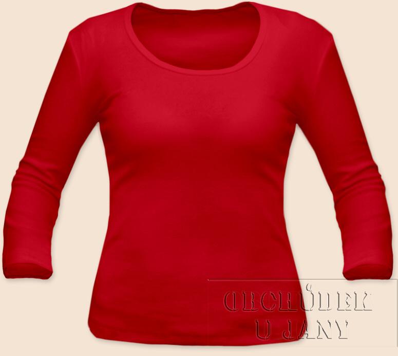 Dámské tričko 3/4 rukáv červené