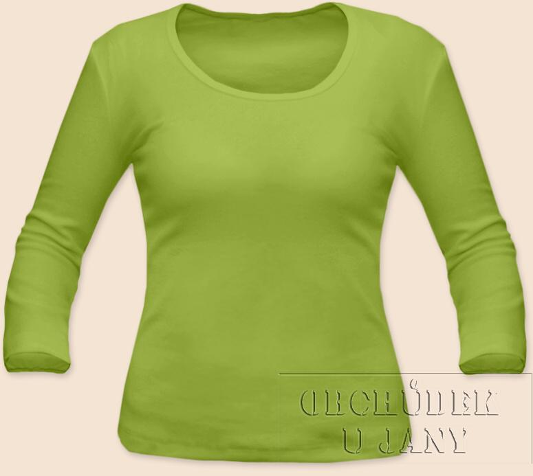 Dámské tričko 3/4 rukáv zelené hráškové