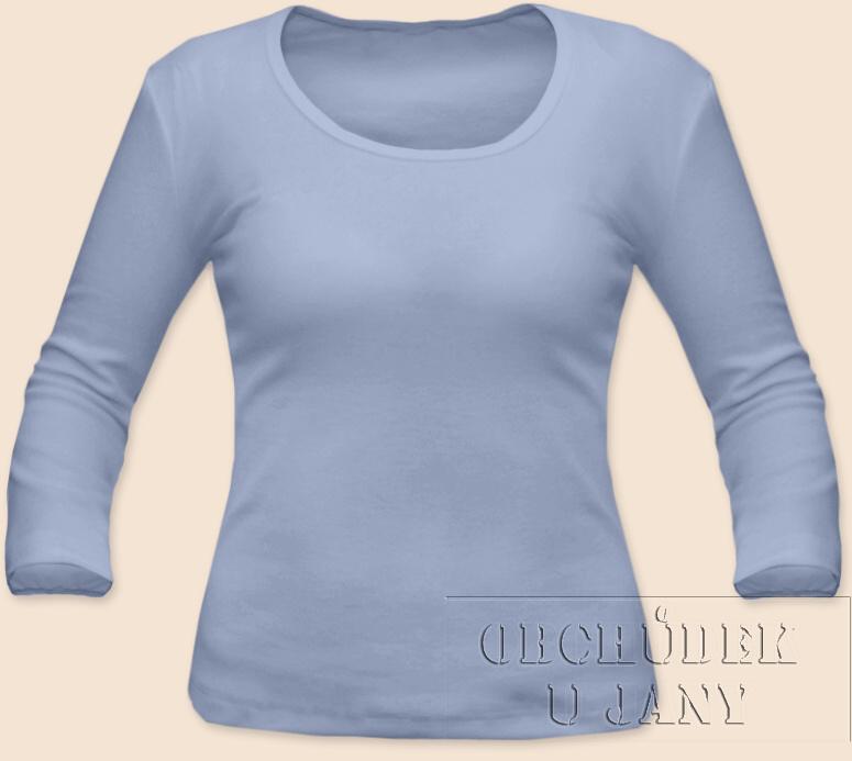 Dámské tričko 3/4 rukáv modré pomněnkové