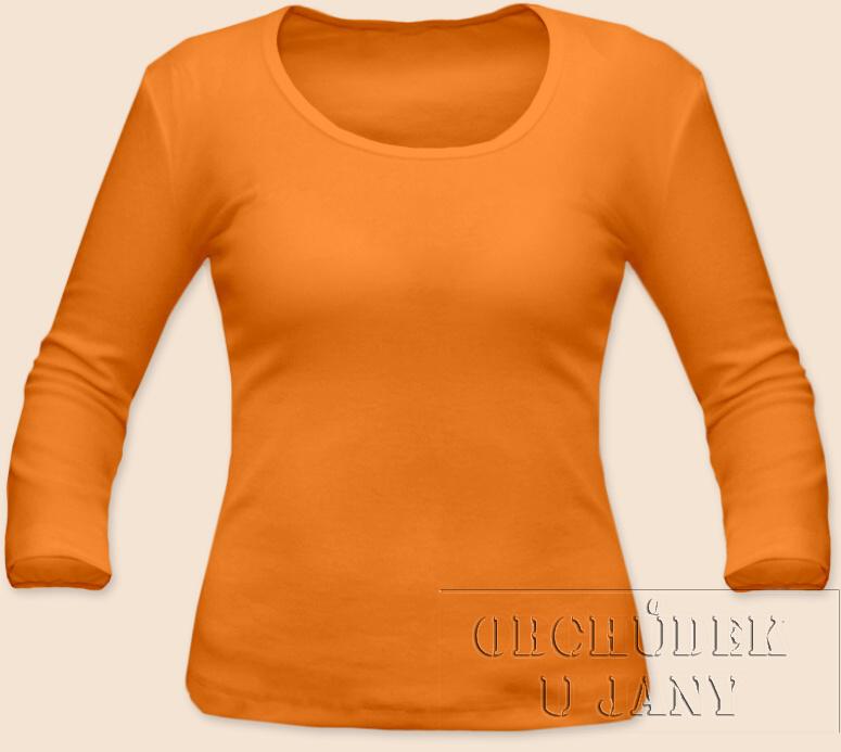 Dámské tričko 3/4 rukáv oranžové světlé