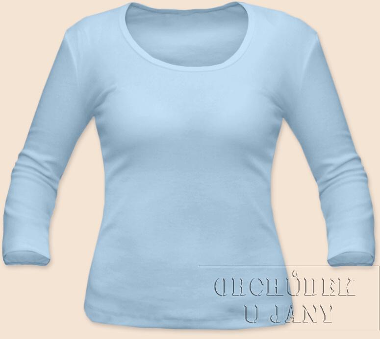 Dámské tričko 3/4 rukáv modré světlé