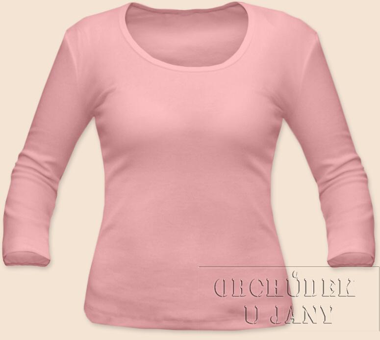 Dámské tričko 3/4 rukáv růžové světlé