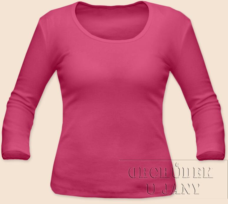 Dámské tričko 3/4 rukáv růžové tmavé