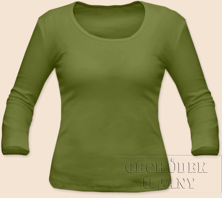 Dámské tričko 3/4 rukáv zelené olivové