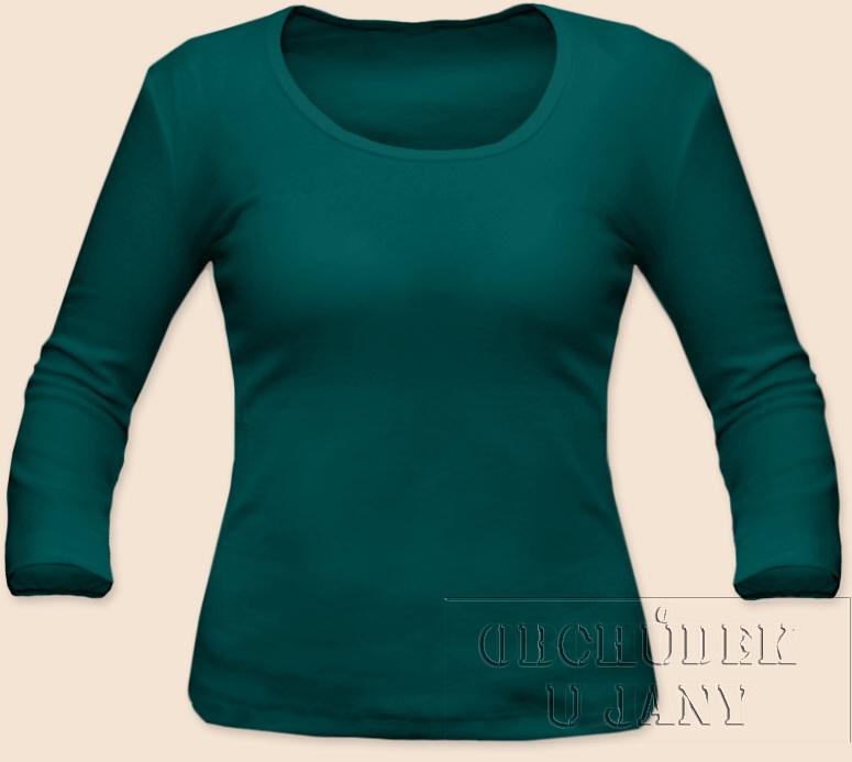 Dámské tričko 3/4 rukáv zelenomodré