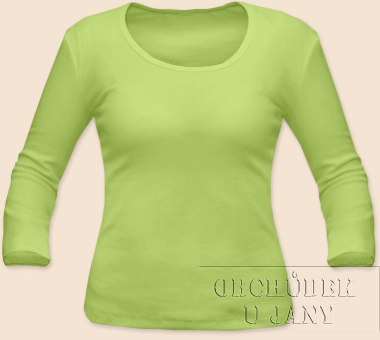 Dámské tričko 3/4 rukáv zelenkavé