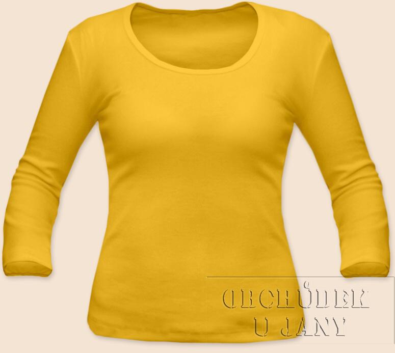 Dámské tričko 3/4 rukáv žluté vel. S