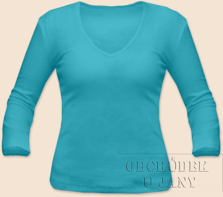 Dámské tričko 3/4 rukáv do V modré tyrkysové