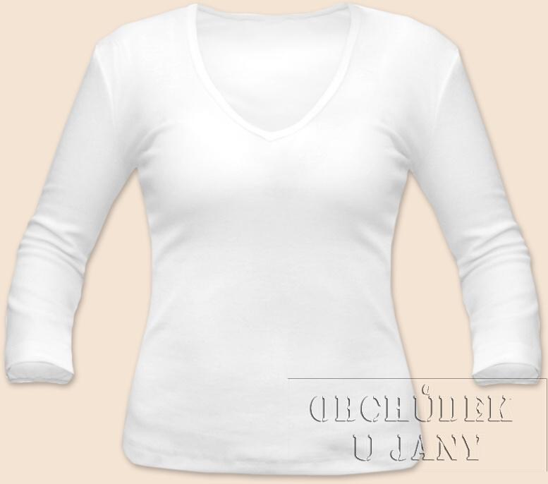 Dámské tričko 3/4 rukáv do V bílé